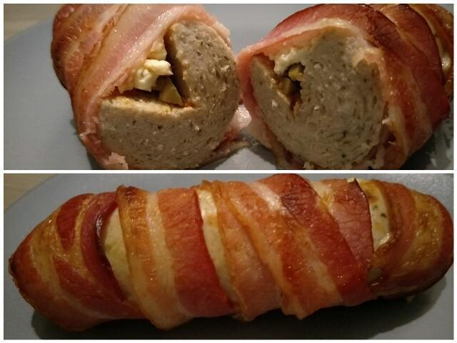 Low Carb gefüllte Bratwurst im Baconmantel